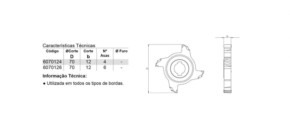 607 – FRESA PARA COLADEIRA DE BORDA